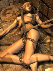 Tied up anime gets ass masturbated
