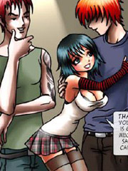 Enslaved manga babe with pink hair forced to suck throbbing dick of her perverted capturers.