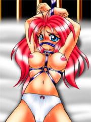 Enslaved blonde beautie forced to show her sucking and fucking skills. tags: bdsm art, titty fuck, shaved pussy, tits.